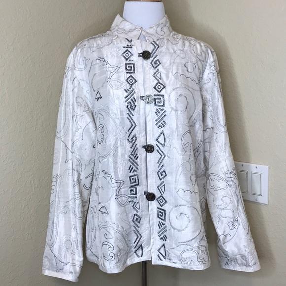 Metallic Oriental Top CoatsChicos Silk Jacketsamp; Jacket Chico's gyfY6vb7